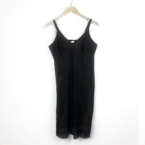 Vintage 90s Black Slip Midi Dress